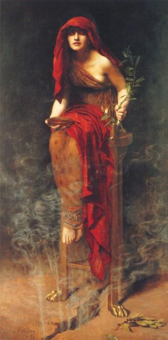 """dipinto di john collier """"sacerdotessa di Delfi"""""""